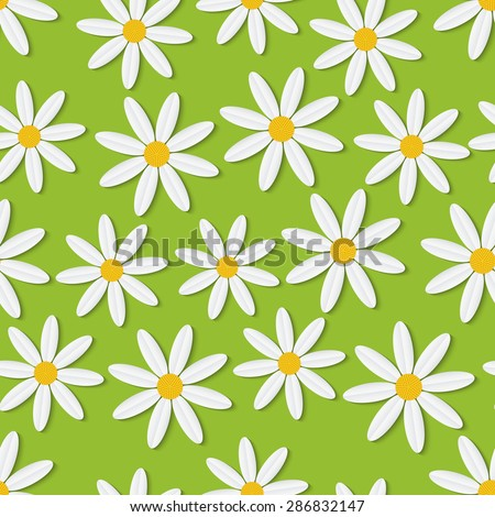 Summer daisies seamless vector pattern. Floral style background. - stock vector