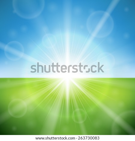 Summer day bright sun flare vector background. - stock vector
