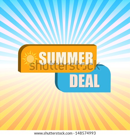 summer deal -  orange and blue box over rays, vector - stock vector