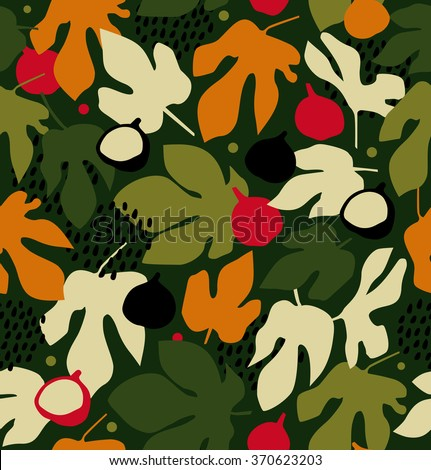 Summer decorative floral pattern, seamless background with fruits and leaves, vector nature texture - stock vector