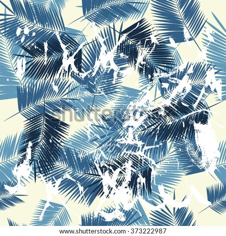 Summer denim hawaiian seamless pattern with palm tree branches with splashes, vector illustration - stock vector