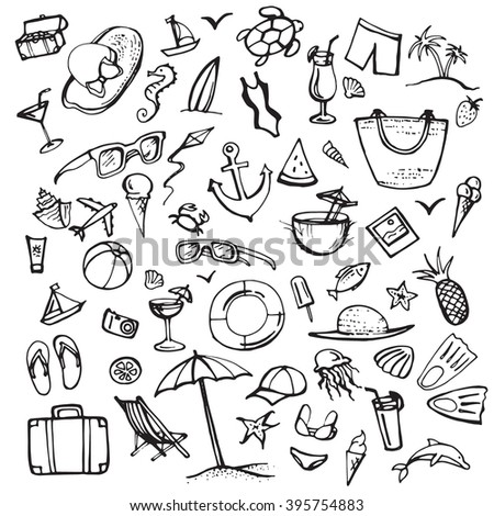 Summer doodle set. Summer beach holidays, travel, shoes, ice cream, shells, ball, drink, towel, sunglasses, parasol. Hand drawn doodle. Vector illustration isolated on white background - stock vector