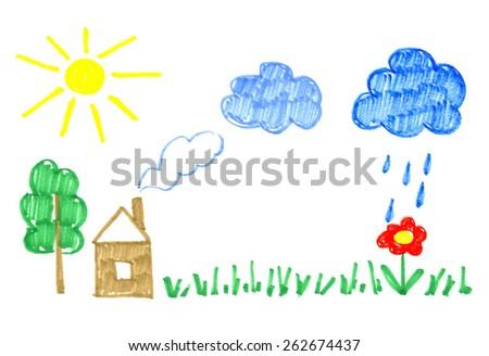 Summer felt pen child drawing.   - stock vector