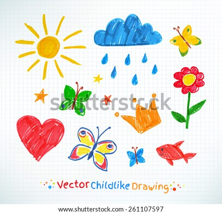 Summer felt pen child drawing on checkered school notebook paper. Vector set. - stock vector
