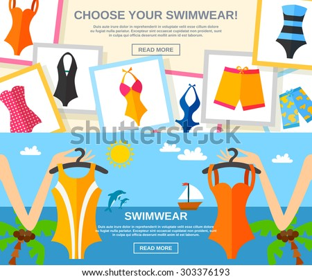 Summer female fashion clothing with choose your swimwear text flat color horizontal banner set isolated vector illustration - stock vector