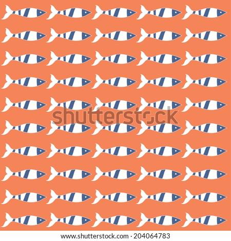 Summer fish pattern. Vector illustration. - stock vector