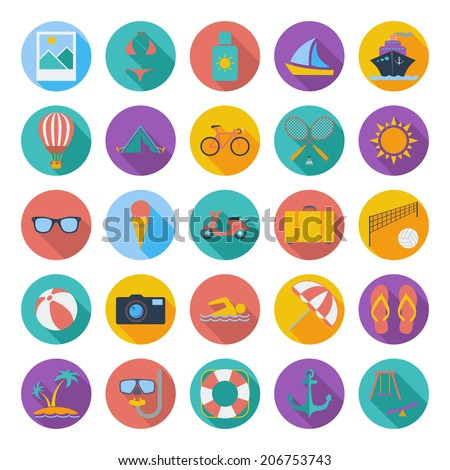 Summer flat color icons. Vector illustration. - stock vector