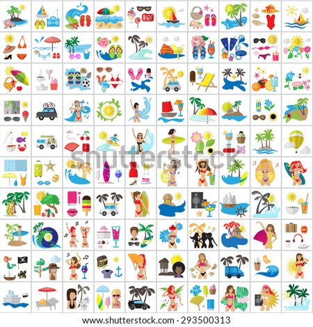 Summer Flat Icons Set: Vector Illustration, Graphic Design. Collection Of Colorful Icons. For Web, Websites, Print, Presentation Templates, Mobile Applications And Promotional Materials - stock vector