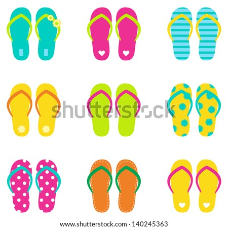 Summer flip flops set isolated on white - stock vector
