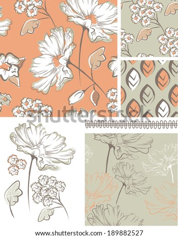 Summer Floral Seamless Patterns and Icons. Use as fills, digital paper, or print off onto fabric to create unique items. - stock vector