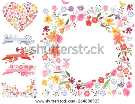 Summer flowers - frame, heart and decorative elements on white - stock vector