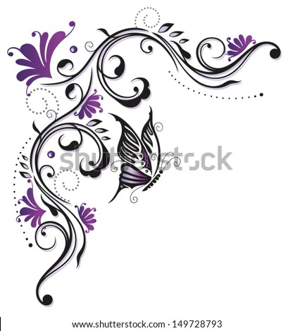 Summer flowers in violet and purple - stock vector