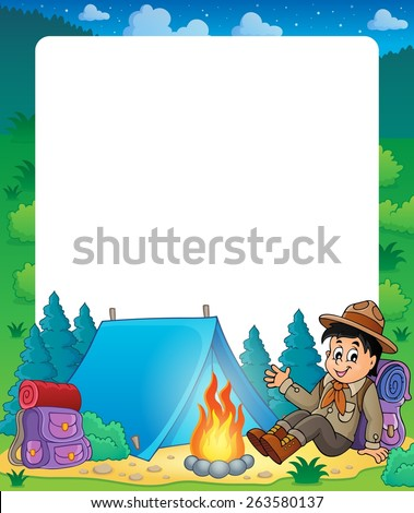 Summer frame with scout boy theme - eps10 vector illustration. - stock vector