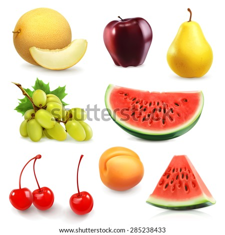 Summer fruits, set of vector icon - stock vector