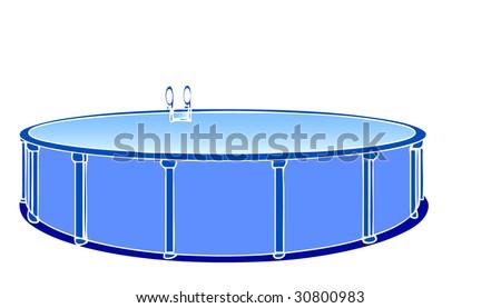 Summer fun vector illustration of a pool - stock vector