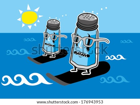 Summer grafitti salt shaker twins - stock vector