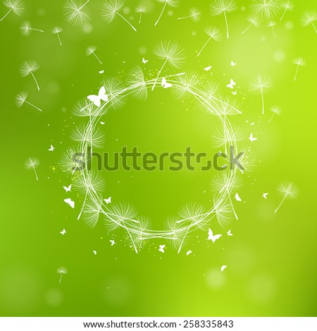 Summer green background with dandelion seeds - stock vector