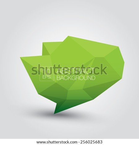 summer Green Conceptual polygonal geometric speech bubble. Abstract vector Illustration, low poly style. Stylized design element. Background design for banner, poster, flyer, cover, brochure. - stock vector