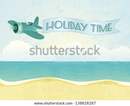 Summer grunge textured background with plane and banner. - stock vector