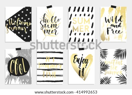 Summer hand drawn calligraphyc card set. Vector collection of black, white, gold colored summer cards. Beautiful summer posters with pineapple, banana, palm leaves and hand written text. Journal cards - stock vector