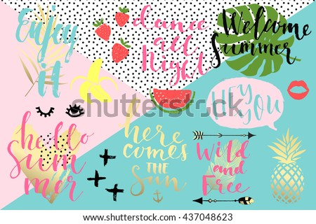 Summer hand drawn calligraphyc elements set. Vector collection of black, white, gold colored summer lettering. Beautiful summer quotes posters with palm leaves and hand written text. Journal stickers - stock vector