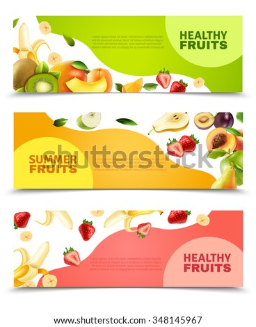 Summer healthy diet organically grown fruits and berries 3 horizontal colorful banners set abstract isolated vector illustration - stock vector