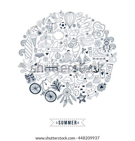 Summer heart design made of doodle season icons. Doodle travel vacation icons arranged in circle round shape - stock vector