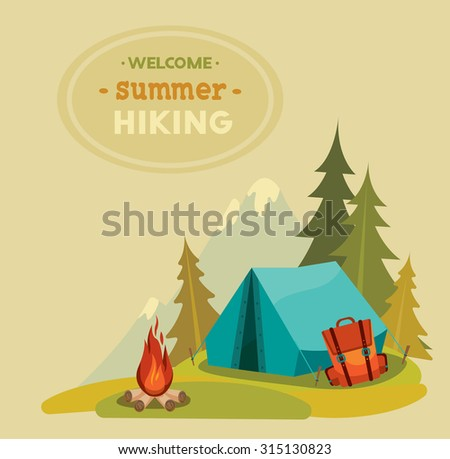 Summer hiking - vector illustration with blue tent, backpack and campfire on a green grass and mountain background.  - stock vector
