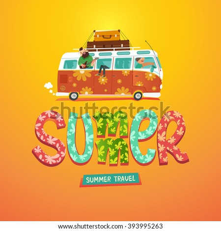 Summer. Hippie camper van. Youth traveling by a vintage microbus. Colorful hand drawn title. Vector colorful illustration in flat style - stock vector