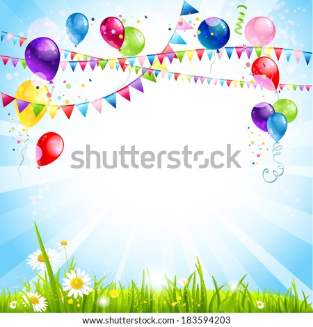Summer holiday background with balloons. Place for text - stock vector
