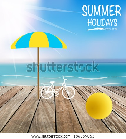 Summer holiday background with wood terrace. Vector illustration. - stock vector