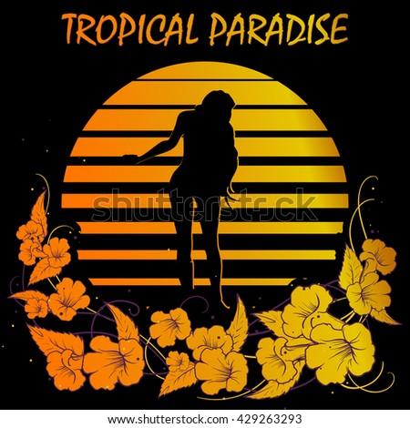 Summer holiday design. Tropic sunset. Girl silhouette on black and golden stripes. Flower garland frame. EPS10 vector illustration. - stock vector