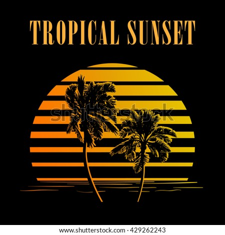 Summer holiday design. Tropic sunset. Palm trees silhouettes on black and golden stripes. Minimalistic style logo. EPS10 vector illustration. - stock vector