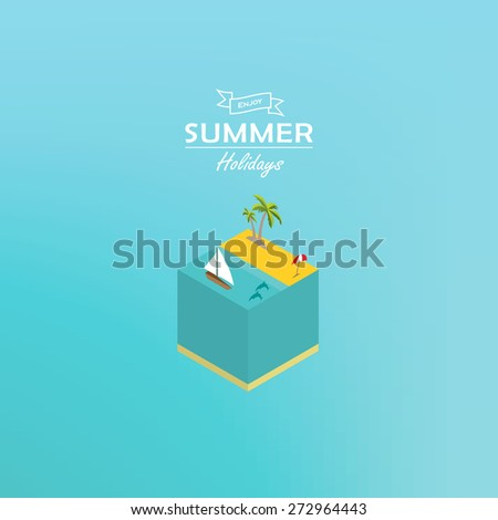 Summer holiday - isometric concept of island - stock vector