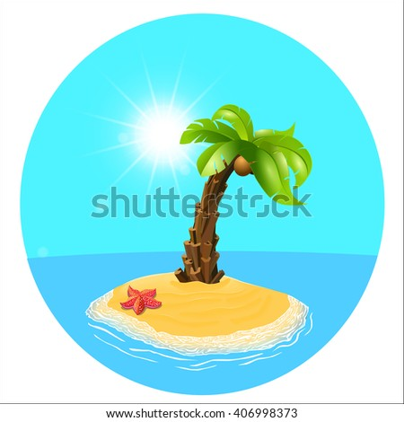 Summer holiday. Palm tree on the island. Vector, palm and the island. Relax on the beach. Vector illustration.  Palm-tree on the tropical island. Sunny palm beach. Isolated background. - stock vector