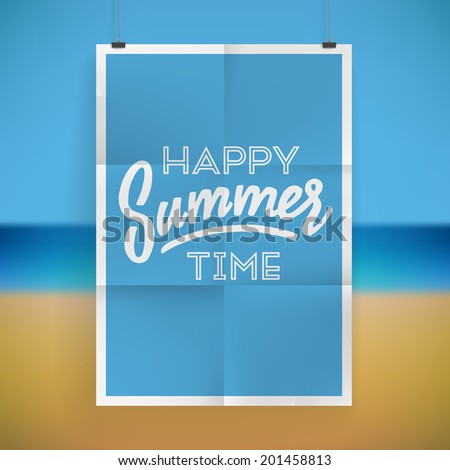 Summer holiday poster design on tropical beach background. Vector eps10. - stock vector