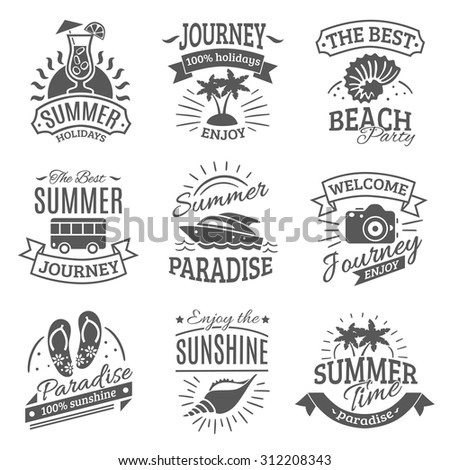 Summer holiday travel agencies labels set with best journeys to tropical beach black abstract isolated vector illustration - stock vector