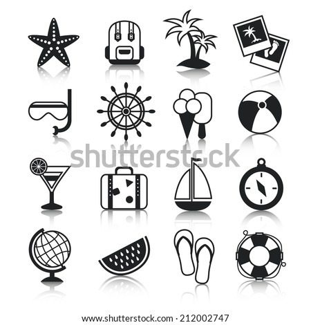 Summer holiday vacation travel agency palm cocktail snorkel mask suitcase baggage pictograms collection black vector isolated illustration - stock vector