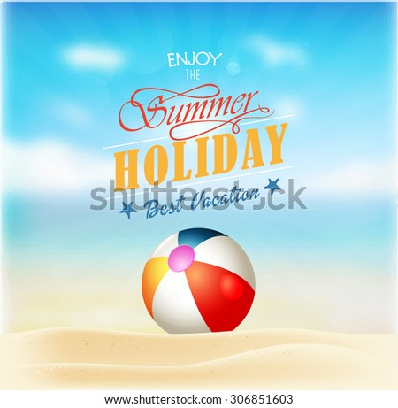 Summer holiday vacation travel background poster  - stock vector