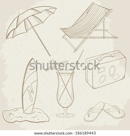Summer Holiday Vector Hand Drawn Icons - stock vector