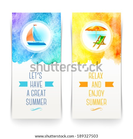 Summer holidays and travel banners with greetings and watercolor elements - vector illustration - stock vector