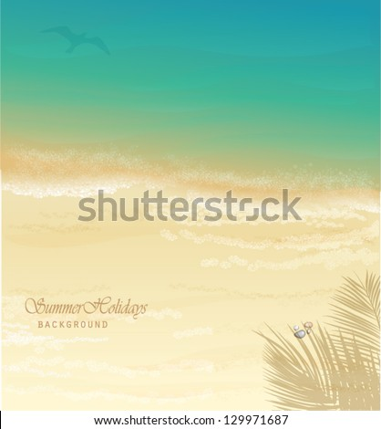 Summer Holidays Background - Sunny beach vector illustration, with dazzling sand and sea, palm tree shade and pebbles - stock vector