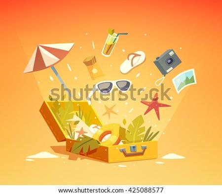 Summer holidays background. Vector illustration. - stock vector