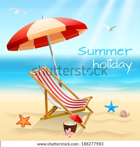 Summer holidays beach background poster with chair starfish and cocktail vector illustration - stock vector