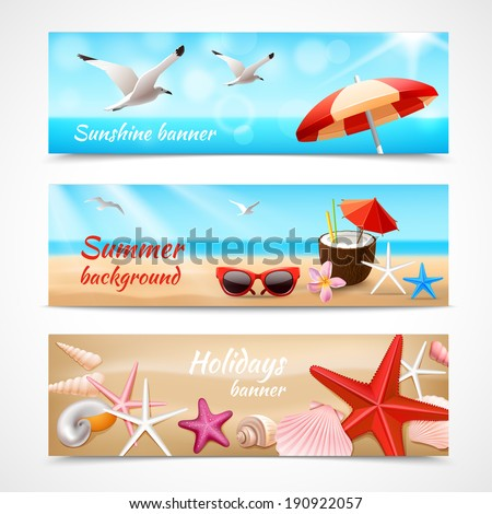 Summer holidays beach labels with seagull cocktail sea shell vector illustration - stock vector