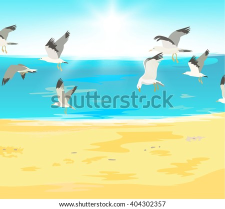 Summer holidays. Beach with flying seagulls and tropical sea with bright sun. Vector illustration - stock vector