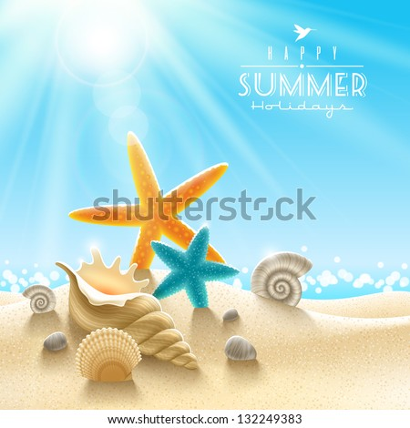 Summer holidays illustration - sea inhabitants on a beach sand against a sunny seascape - stock vector