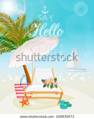 Summer holidays illustration. Seaside view on sunny day with parasol, chaise, boat, palm,  sand and palm leaves. - stock vector