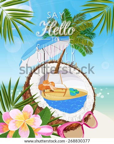 Summer holidays illustration. Seaside view on sunny day with sand, coconut, beach chair, sunglasses, beach umbrella, tropical flower and palm leaves. - stock vector