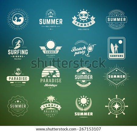 Summer holidays labels design elements and typography set. Retro and vintage templates. Badges, Posters, Emblems, Apparel. Vector set. Beach vacation, party, travel, tropical paradise, adventure. - stock vector